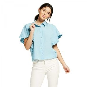 NWT Universal Thread Button Down Blouse Large Blue